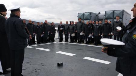"""Церемонията по изпращане на фрегатата """"Дръзки"""" в базата в Атия на задгранична мисия."""