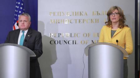 В гранитната зала на МС се проведе съвместна пресконференция на Екатерина Захариева и заместник-държавния секретар на САЩ Джон Съливан.