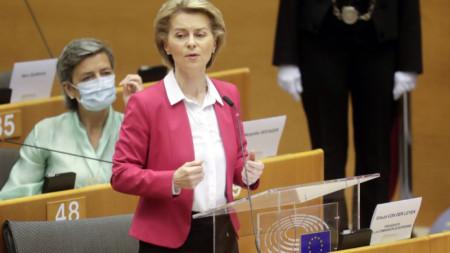 Шефът на Еврокомисията Урсула фон дер Лайен представя проекта за бюджет 2021-2027 и План за възстановяване на ЕС в Европарламента на 27 май.