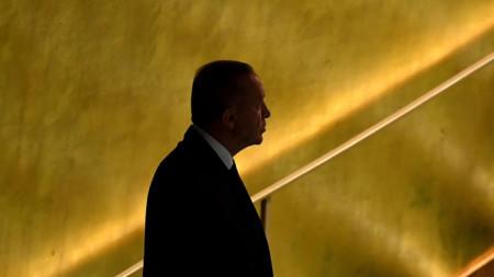 Турският президент Реджеп Ердоган на 76-ата сесия на Общото събрание на ООН в Ню Йорк.