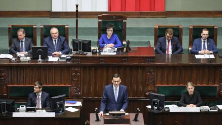 Изказване на номинирания за премиер Матеуш Моравецки пред полския Сейм