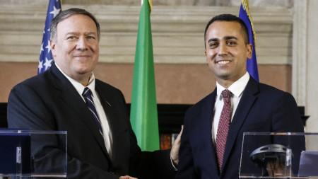 Пресконференция на Държавния секретар на САЩ Майк Помпейо с италианския външен министът Луиджи ди Майо в Рим