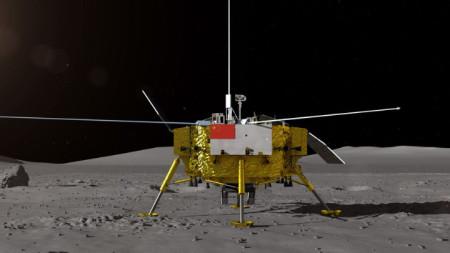 """Илюстрация на китайската космическа сонда """"Чанъе-4"""", кацнала на Луната."""