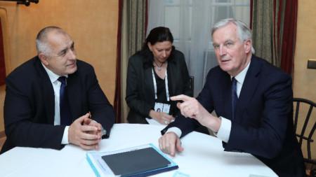 Бойко Борисов и Мишел Барние на срещата им в Мюнхен.