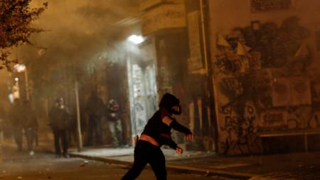 кадър от протестите в Атина