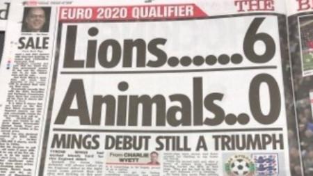 Заглавие в днешен английски вестник