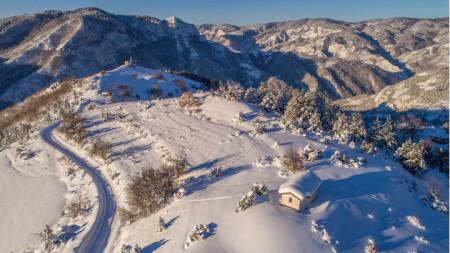 Снежно утро в Родопите.