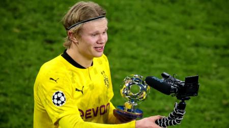 Ерлинг Холанд получи наградата за играч на мача снощи.