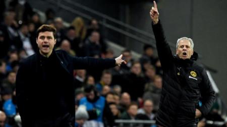 Почетино (вляво) и Фавър бяха в различно настроение след мача.