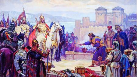 """""""Цар Симеон Велики пред Цариград"""" – 1927 г., картина от Димитър Гюдженов"""