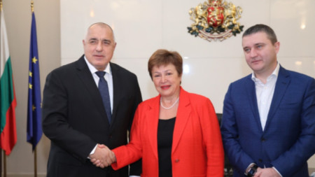 Boyko Borissov, Kristalina Georgieva and Finance Minister Vladislav Goranov (L to R)