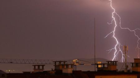 Общо 59 литра дъжд на квадратен метър са паднали при гръмотевичната буря в София