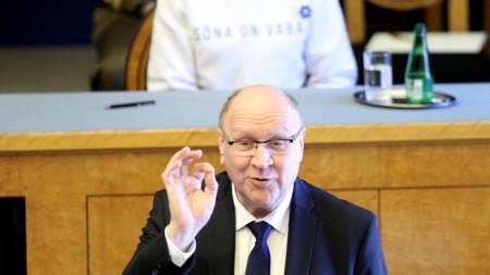 Март Хелме, който подаде оставка като вътрешен министър на Естония.