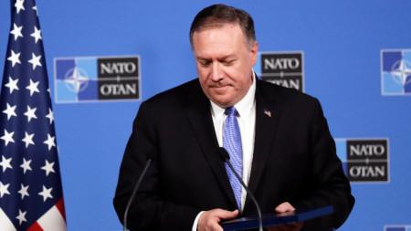 Държавният секретар на САЩ Майк Помпейо говори на среща на външните министри от НАТО