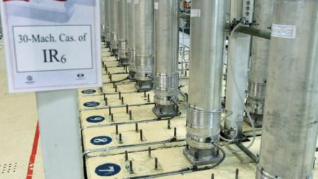 Центрофуги в съоръжението за обогатяване на уран в Натанз, в Централен Иран, снимката е предоставена от Организацията за атомна енергия (AEOI) на Иран през ноември 2019 г.