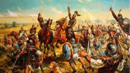 """""""Битката при Онгъла. Хан Аспарух"""" от Васил Горанов (фрагмент)"""