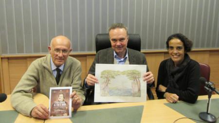 """Франческо Реджиани, Н. Пр. Стефано Балди и Алесандра Малусарди (от ляво надясно) в студиото на """"Европейски паралели - за музея за галерията"""""""
