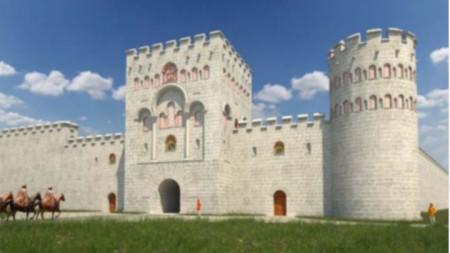 Възстановка на Южната порта на Дворцовата крепост в Преслав с прилежащите ù крепостни стени и съоръжения