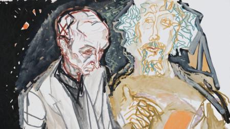 Борис Димовски и Радой Ралин 1977 (фрагмент) маслен пастел върху хартия 70 х 82 см частна собственост