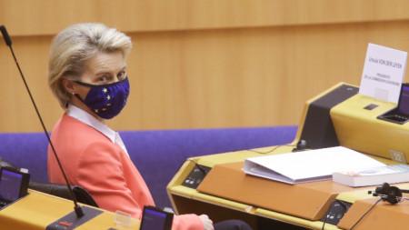 Председателят на Европейската комисия Урсула фон дер Лайен в Европейския парламент в Брюксел, 26 април 2021 г. Заключенията на Европейския съвет и резултатите от срещата ЕС - Турция са основните теми.