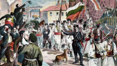 """""""Bashkimi i Bullgarisë Veriore me atë Jugore. 6 shtatori 1885"""" – pikturë në një pullë postare nga viti 1885"""