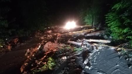 Пътят бе непроходим заради свличане на голямо количество земна маса и дървета след пороен дъжд.