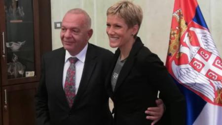 Оливера Йевтич и посланикът ни в Сърбия Радко Влайков