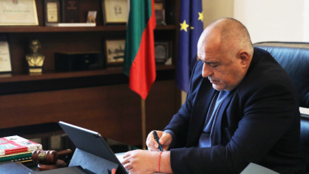 Премиерът Борисов по време на правителствено заседание, провеждано чрез видеоконференция - 15 април 2020 г.
