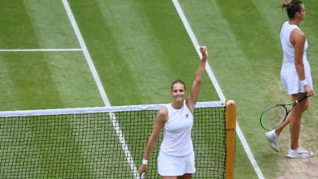 Каролина Плишкова ликува, след като е отстранила Арина Сабаленка на полуфинал на турнира по тенис