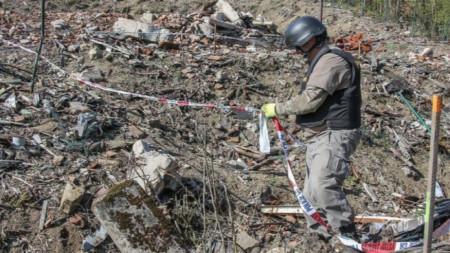 Überreste des Munitionslagers in Vrbětice