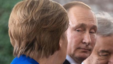 Руският президент Путин и германският канцлер Меркел - януари 2020 г.