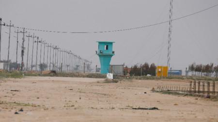 Изглед към строящото се летище на Кербала, където бе убит един цивилен и ранен друг при американските удари.