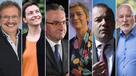 Участниците в дебата (от ляво на дясно) - Нико Куе, Ска Келер, Ян Захрадил, Маргрете Вестегер, Манфред Вебер и Франс Тимерманс.