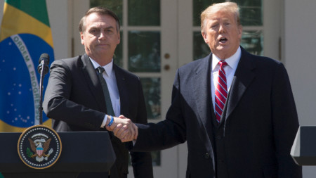 Жаир Болсонаро на среща с Доналд Тръмп