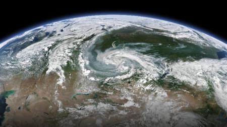 Димът от пожарите в Сибир се вижда от космоса.