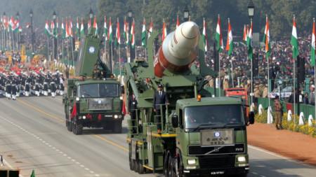 Индийска ракета за сваляне на сателити ASAT на парада в Делхи.