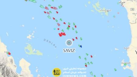 """Взривът ударил иранския търговски кораб """"Савиз"""" В Червено море във вторник сутринта."""