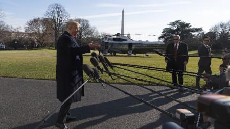 Изказване на Доналд Тръмп пред репортери в градината на Белия дом