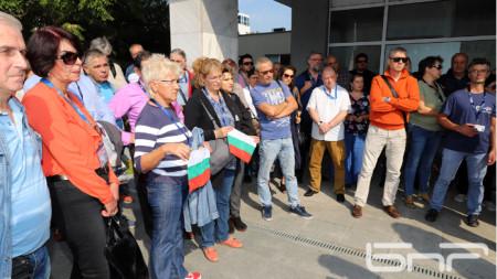 Служители на БНР, подкрепящи Светослав Костов,на протест пред СЕМ