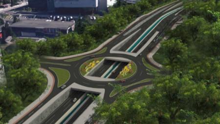Така ще изглежда едно от кръговите кръстовища на новия булевард