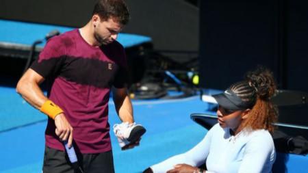 Григор тренира със Серина в Мелбърн