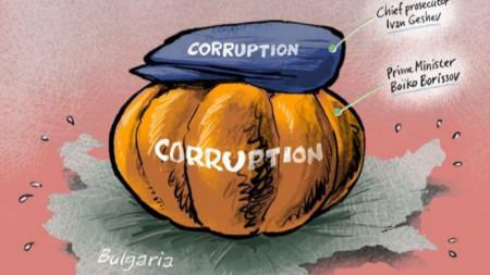 Карикатурата на Мартен Волтеринк, изобразяваща фигурите на премиера и главния прокурор