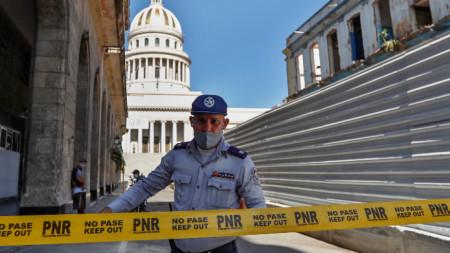 Полицейска блокада край Капитолия в Хавана