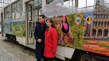 Скоро Петя Илиева и белгийският посланик показаха трамвай №10, брандиран по повод 120 години от първата мотриса в София