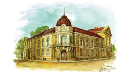 Сградата на БАН, нарисувана от Белин Моллов
