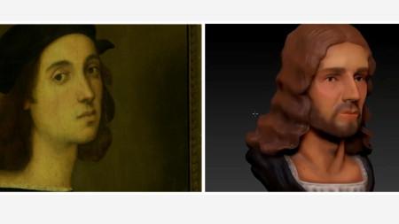 Автопортрет и триизмерна реконструкция на лицето на Рафаело.