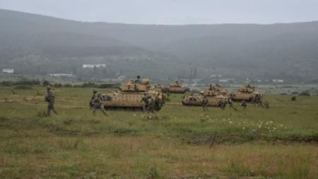 """В учението """"Балкански страж 21"""" участваха български американски и грузински войници."""