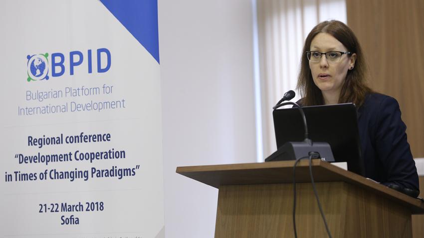Mónica Panayotova inaugurando la conferencia