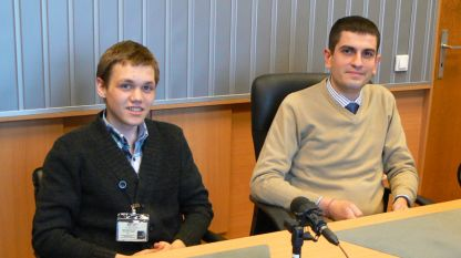 Алексей Митев (вляво) и Драгомир Дарданов в студиото на