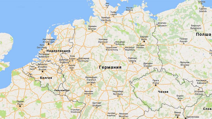Славянски имена на градове на географската карта на Германия.